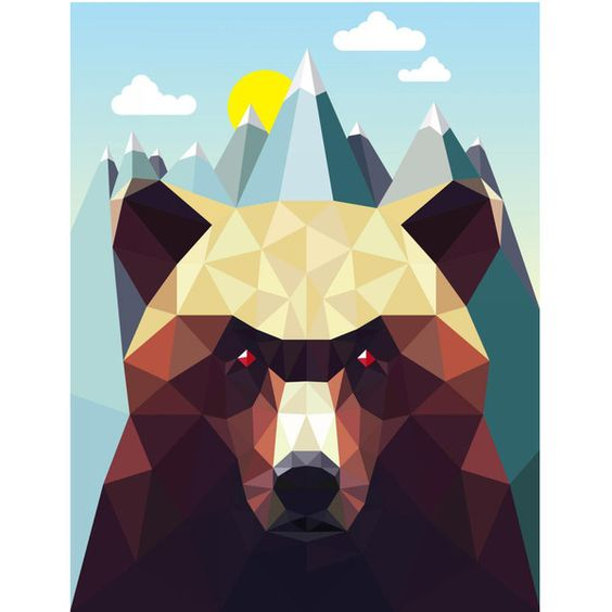 Monde Mosaic - Bear Mountain Art Print (£53) ❤ liked on Polyvore featuring home, home decor, wall art, bear home decor, paper wall art, new york skyline wall art, bear wall art and mountain home decor