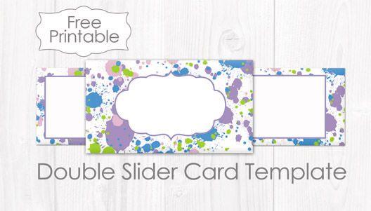 Free Printable Splash Double Slider Card Template Raspberry Swirls Slider Cards Card Template Cards