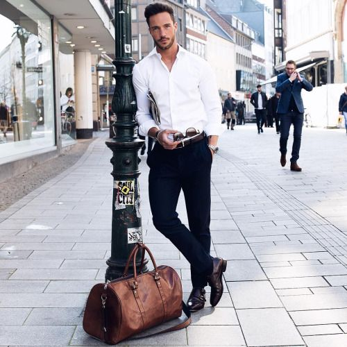 Wear it simple. White shirt and black pants. Ready to go. Men's ...
