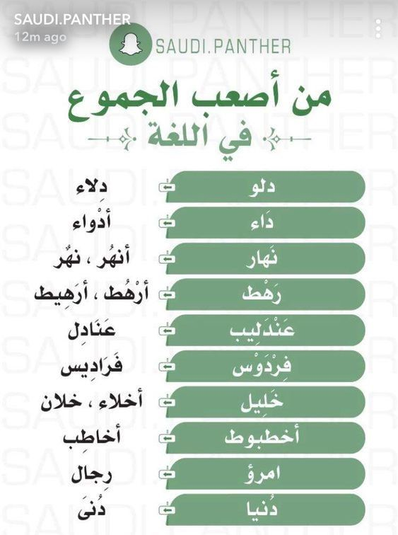 من أصعب الجموع Learn Arabic Language Arabic Language Arabic Love Quotes