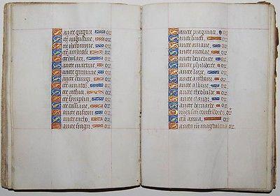Livro De Horas c1450 Iluminado Pergaminho Leaf Antigos Manuscrito manuscritas Raro