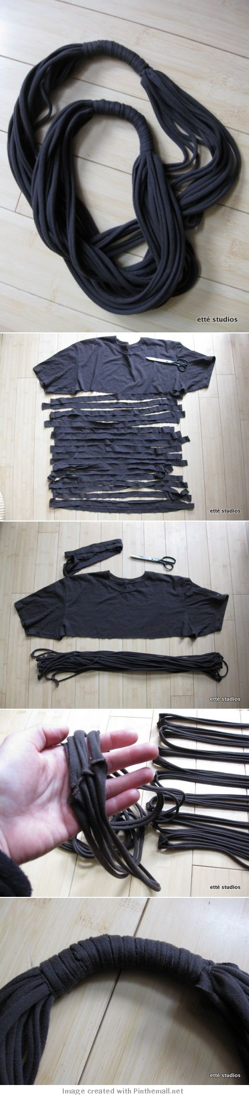 DIY Upcycled Rope Tshirt Scarf Tutorial.