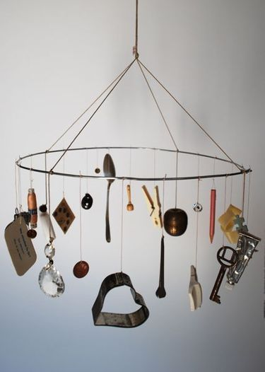 Whitney Smedlow Create I mobile. I like the idea of using found objects.