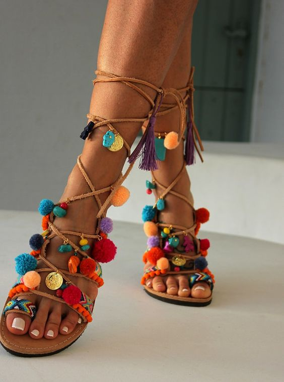 Greek Sandals Tie Up Gladiator Sandals Pom Pom by DimitrasWorkshop