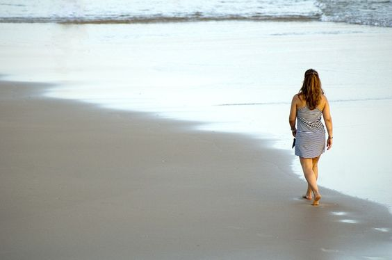 Fin De Semana, Mujer, Playa, A Pie, Paseo, Agua, Olas