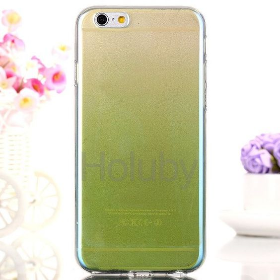 Blue-ray Gradient Color Glitter Powder Translucence TPU Case for iPhone 6 Plus/ 6S Plus - Light Green