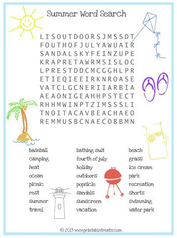 Summer Word Search For Kids Printable Treats Back To