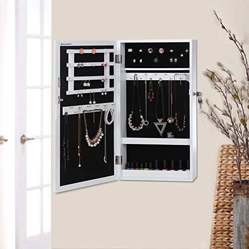 Lockable Jewellery Cabinet Wall Mirror Storage Unit Holder Hanger Shop Display With Images Storage Jewelry Cabinet Mirror Wall