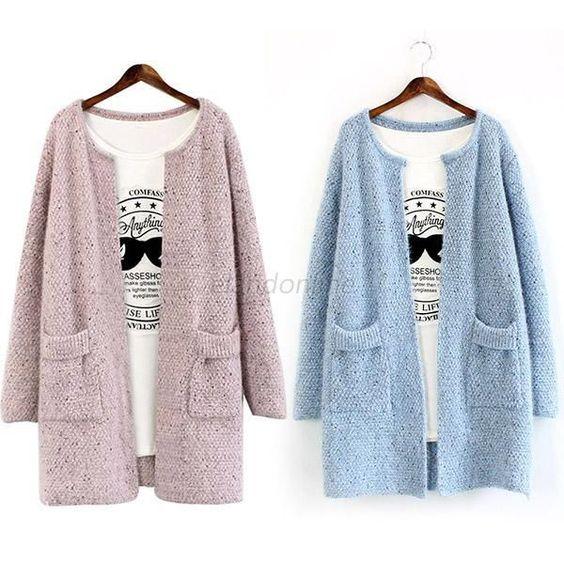 Women Lady Loose Long Sleeve Cardigan Dot Knit Sweater Outwear Coat Jacket E38