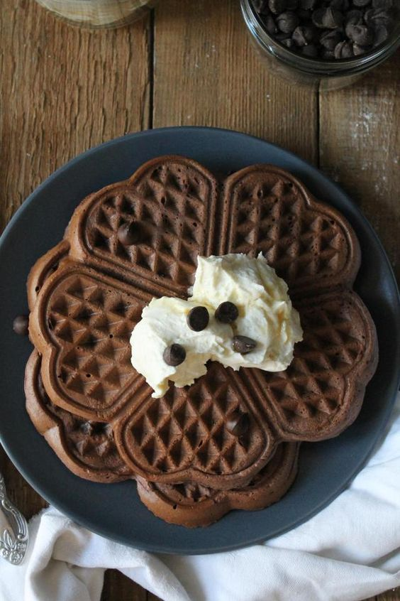 chocolate waffles with buttermilk and maple cream cheese