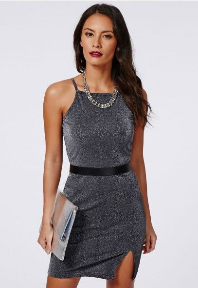 Mackenzie Lurex Square Neck Bodycon Grey - Dresses - Bodycon Dresses - Missguided