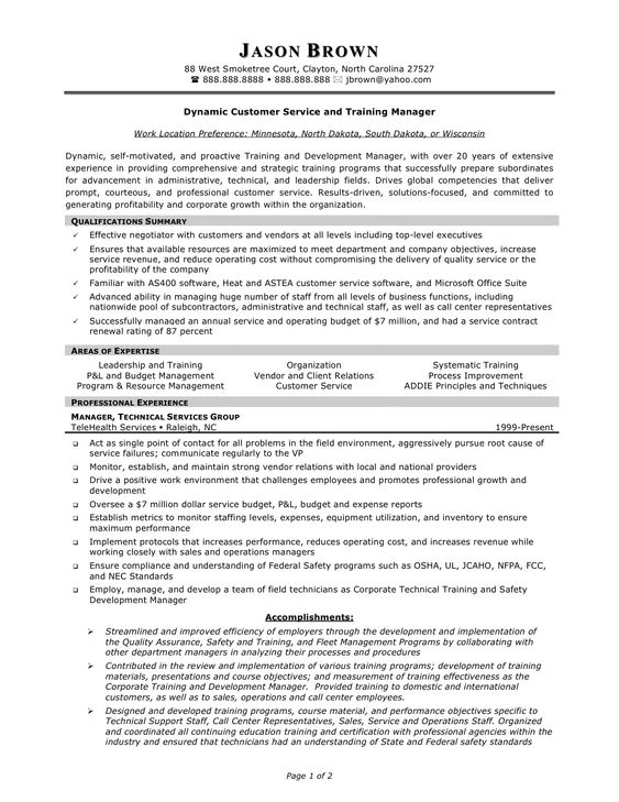 Customer Service Manager Resume - http\/\/wwwresumecareerinfo