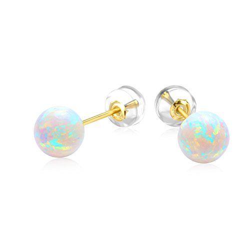 1 cm Opal white shimmering enamel stud earrings