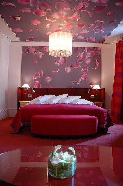 "Romantic Room in ""petal of rose"" style at the Hotel de la Paix in Geneva Switzerland"