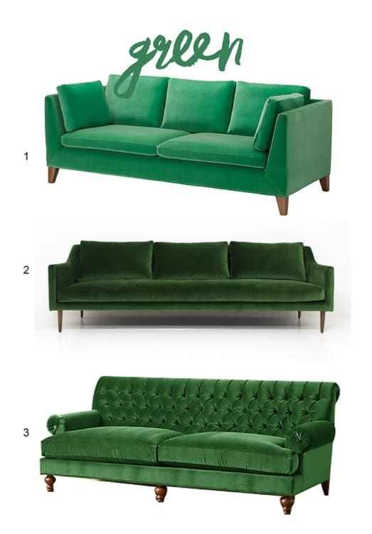 A Shopping Guide To Bright Beautiful Seating With Images Green Sofa Living Room Green Sofa Living Sofa Colors