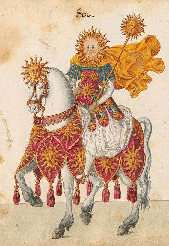 The Sun. Bayerische Staatsbibliothek, - BSB Cod.icon. 340, f. 33r. Beschreibung der historischen und allegorischen Personen der acht Inventionen zum Ringelrennen in den Aufzügen gehalten 1596 anläßlich der Taufe der Prinzessin Elisabeth von Hessen, 1600.