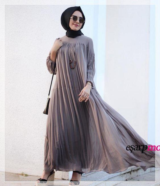 Firfirli Salas Tesettur Abiye Modeli Islami Giyim Kiyafet Elbise