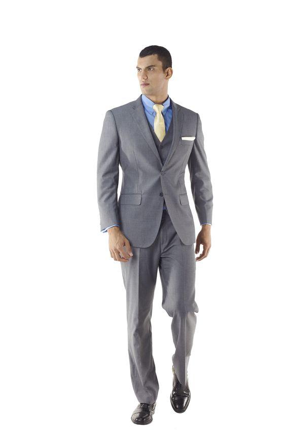 Custom Made Athletic cut Three Piece Grey Suit by Ravis Custom Tailors