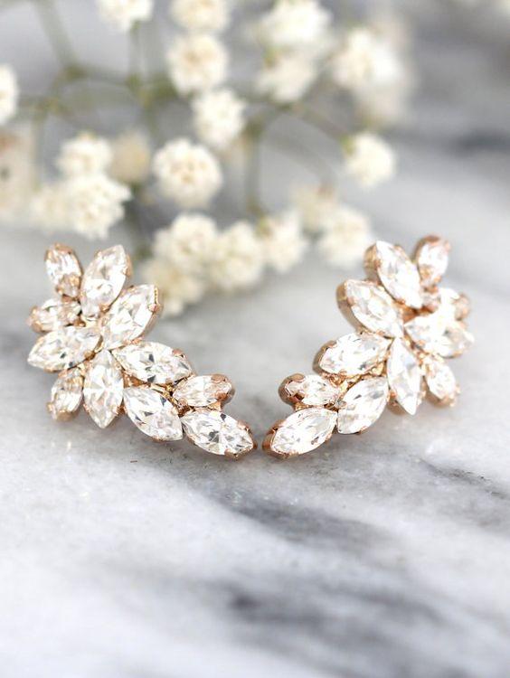 Hochzeitssuite Rose Gold-Ohrringe Swarovski Crystal von iloniti