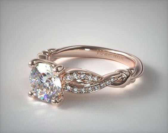17379 engagement rings, pave, 14k rose gold pave crossover engagement ring item - Mobile