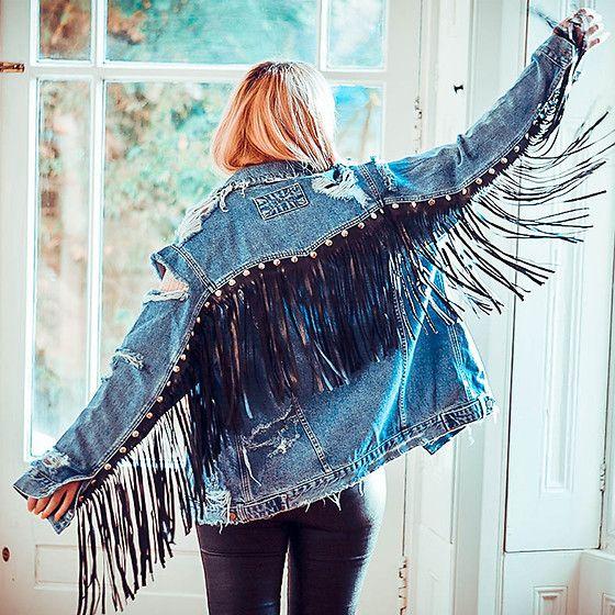 incredible prices 2018 shoes discount sale Fringe Denim Jacket - My DIY | Diy denim jacket, Embellished denim ...