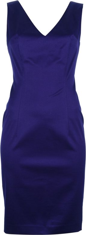 Purple sleeveless cotton blend dress from Reggiani featuring a v-neck, a slim wait, a single vent and a rear zip fastening.