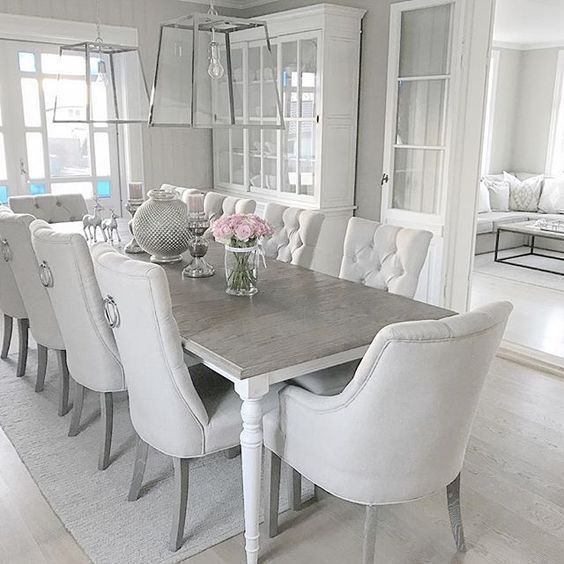 Inspiring Dining Room Decorating Ideas With Modern Style White Dining Room Table Grey Dining Room Dining Room Table Decor