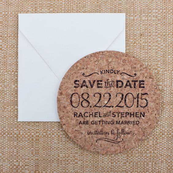 Drinks On Us - Save The Date Invitation on Cork Coasters