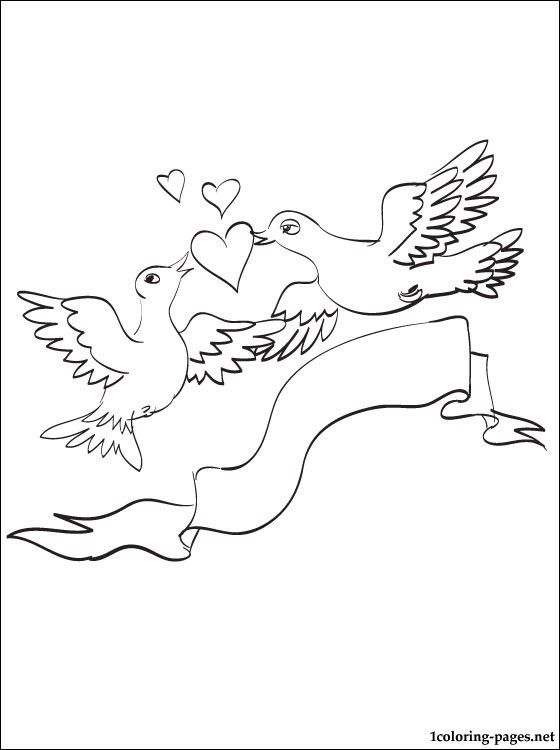 Coloring Page With Pair Of Love Birds Coloring Pages Bird Coloring Pages Coloring Pages Love Birds