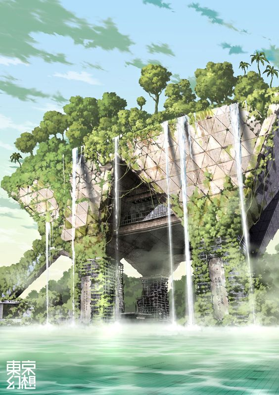 The illustrations of TokyoGenso (a.k.a. Tokyo Fantasy) depict a post-apocalyptic Tokyo devoid of people and overtaken by nature. // Tokyo Big Sight