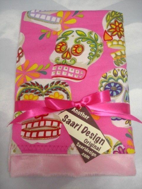 Pink Sugar Skulls dia de la muertos Boutique Baby Blanket