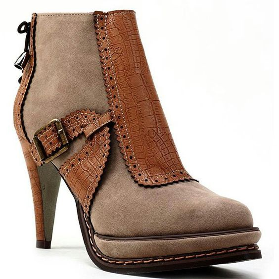 Leather  and suede tan bootie....