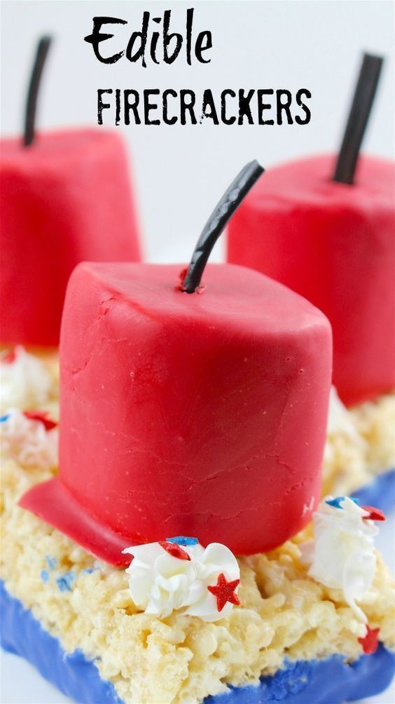 4th of July Edible Firecracker Rice Krispies Recipe