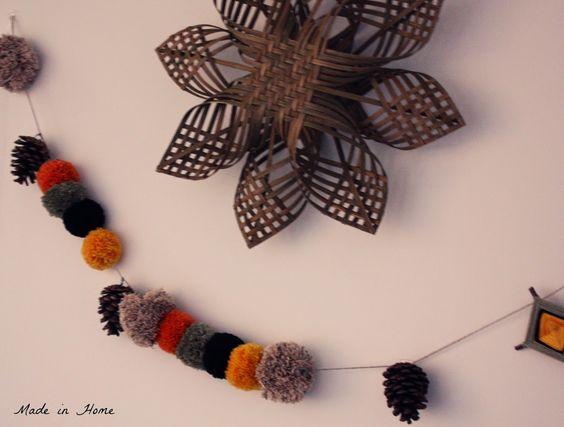Handmade pompom garland - woven star found on Etsy (Baskauta27)