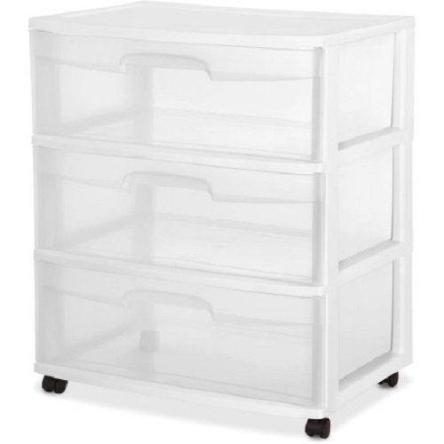Amazon Com Sterilite 29308001 Wide 3 Drawer Cart White Frame