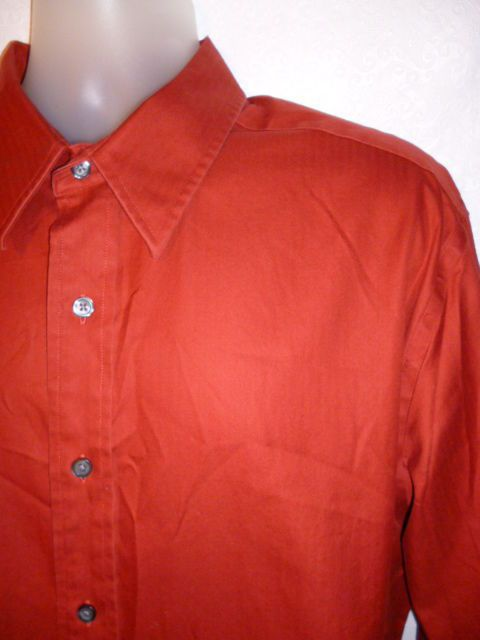 Eddie Bauer Mens Dress Shirt Classic Fit Burnt Orange