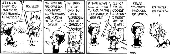 Calvin and Hobbes Girlie Cooties. Who remembers those. Just so you know, that faze didn't last long at all. :)