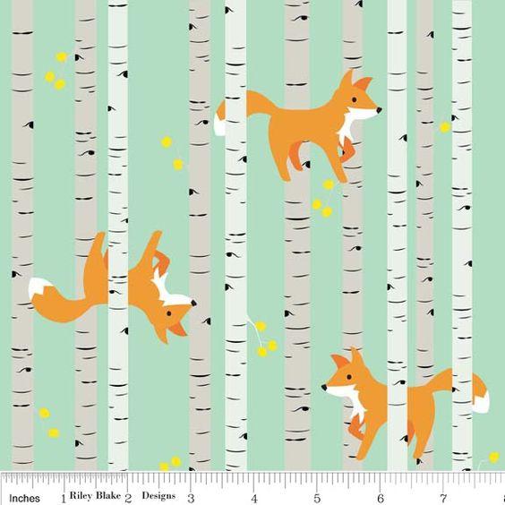 Riley Blake *Good Natured* Füchse & Bäume mint von Staghorn Design auf DaWanda.com