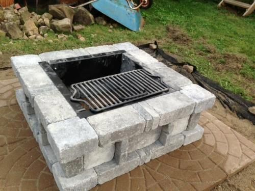 Pavestone Rumblestone 38 5 In X 14 In Square Concrete Fire Pit Kit No 2 In Cafe Rsk50469 Outside Fire Pits Concrete Fire Pits Fire Pit Materials