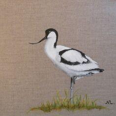 Tableau oiseau avocette peinture animali re sur toile for Peinture lin naturel