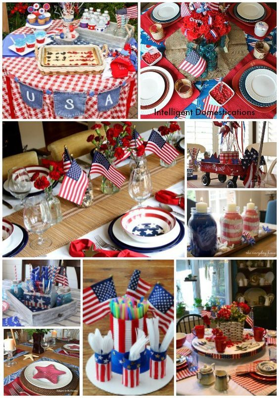 10 Patriotic Table Decor Ideas Patriotic Tablescape Ideas How To Set A Red White And Blue Ta 4th Of July Decorations Patriotic Decorations Table Decorations
