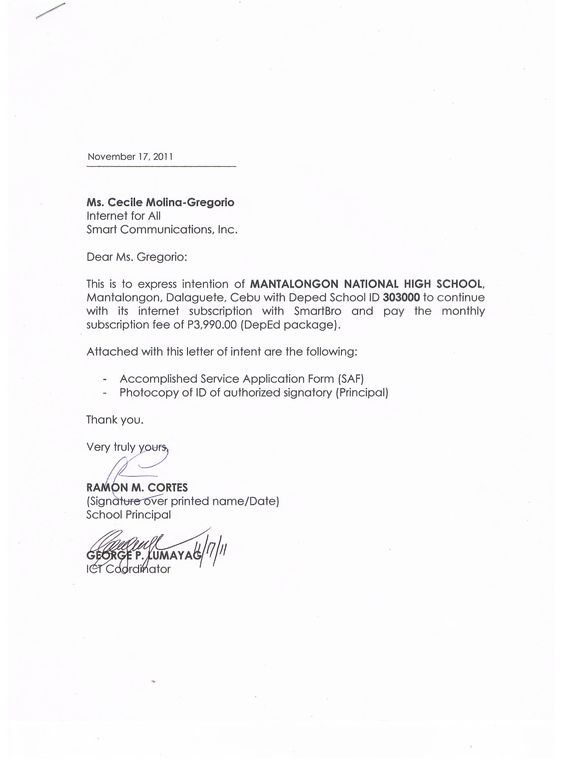 termination letter for pldt services globe change Home Design - national letter of intent