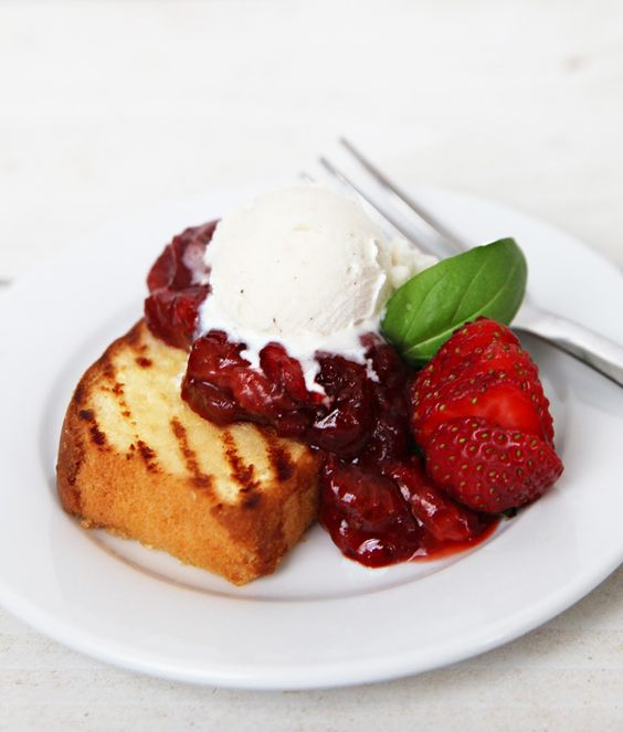 Grilled Pound Cake with Strawberry Rhubarb Basil Compote--Impress friends and family with this surprisingly easy summer dessert.