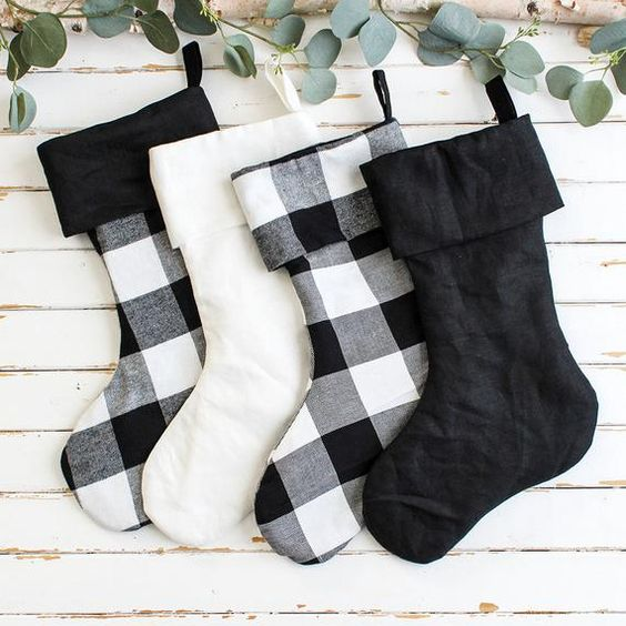 Buffalo Check / Plaid Farmhouse Christmas Stocking - Family Set Christmas Stockings - Modern Farmhouse Christmas Decor - Gingham Stockings  Cozy Black and White Buffalo Check stockings are the perfect addition to your modern Farmhouse Christmas Decor! And these Buffalo Check stockings can provide