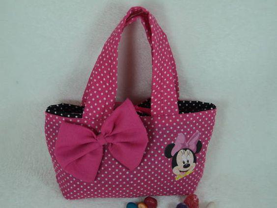 Bolsa De Tecido Com Fecho : Bolsinha minnie rosa etiquetas ems e