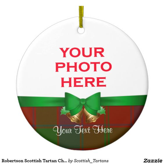 Robertson Scottish Tartan Christmas Photo Double-Sided Ceramic Round Christmas Ornament
