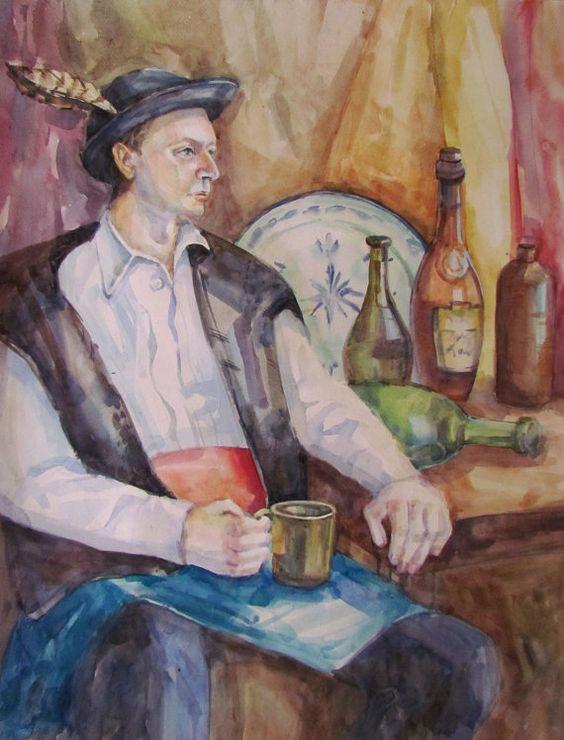 ORIGINAL-Watercolor-PAINTING-male-portrait-ukrainian-national-costume-2 от alisiasilverART