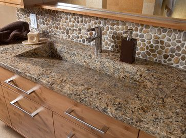 image of river rock in bathroom river rock backsplash design ideas