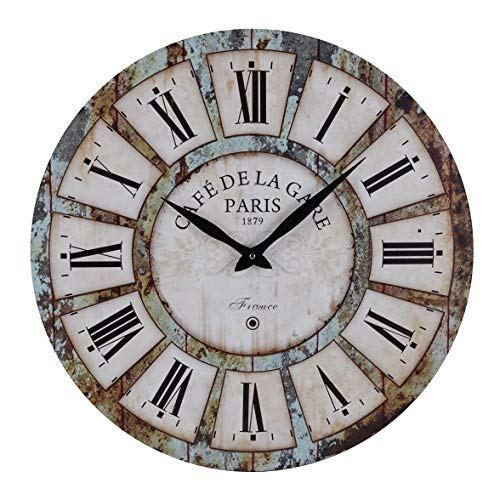 Old Oak 24 Inch Vintage Large Silent Non Ticking Decorative Wall Clock For Wall Decor Round Wall Art Decor Rustic Wall Clocks Clock Wall Decor