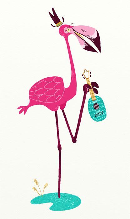 pink flamingo and his banjo by jared chapman